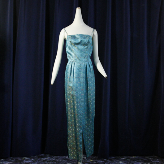 1950's Vintage Jacquard Long Dress