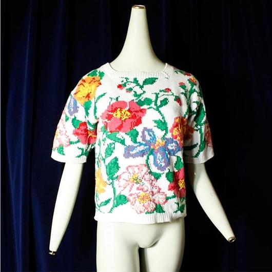 Flower cotton knit