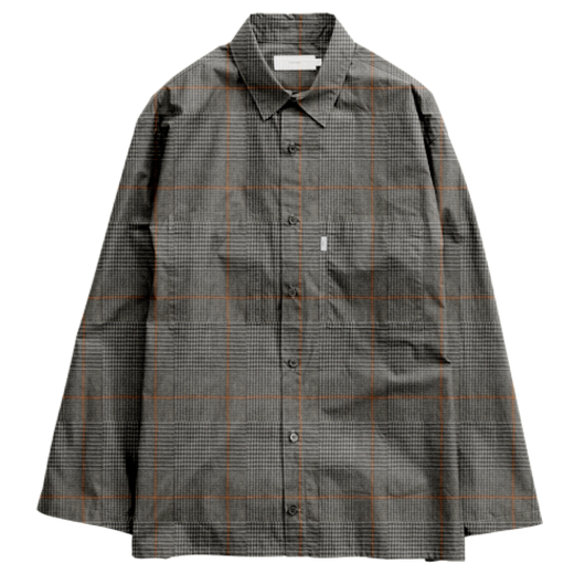 Graphpaper MEN   Glencheck Wool L/S Box Shirt   GRAY