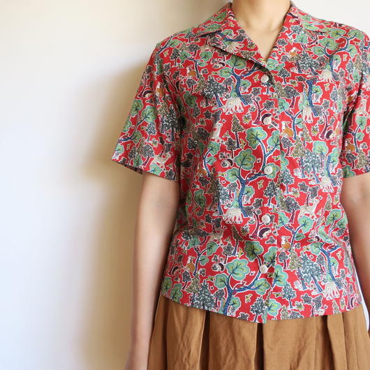YAECA WOMEN キャンプシャツ LIBERTY doe a deer RED