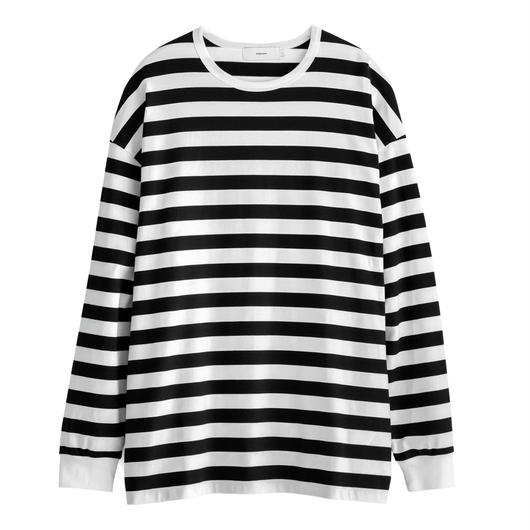 Graphpaper WOMEN Border L/S Slit Tee WHITE×BLACK GL183-70063B