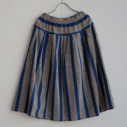 YAMMA   会津木綿タックスカート 丈プラス10センチ