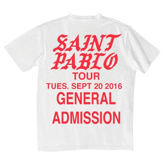 Saint PABLO Tour/official Tshirt ホワイト
