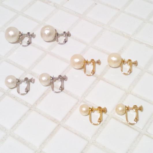 drop*cotton pearl earring