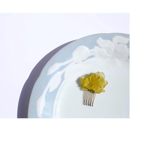 緑色 紫陽花ヘアコーム  (小)