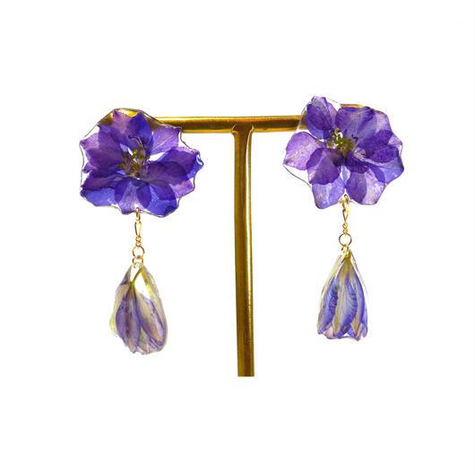 紫色の千鳥草のピアス