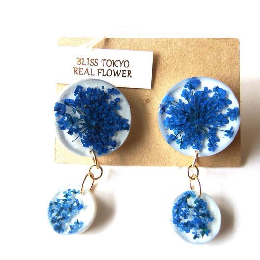 青いかすみ草のピアス