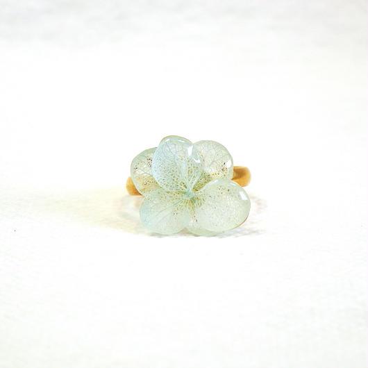 水色の紫陽花の指輪フリーサイズ     (10号〜)