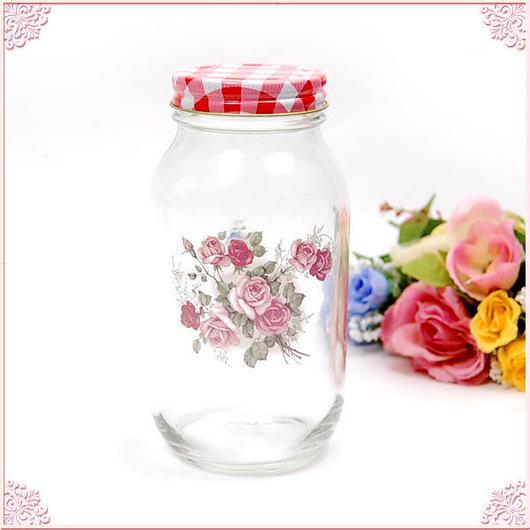 ■プラン・ド・パリ アンジェリカ ガラス瓶L【薔薇雑貨 ガラスジャー アンティーク レトロ 花柄 】
