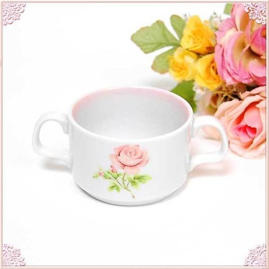 ■プラン・ド・パリ ジュリアン 両手スープカップS 【薔薇雑貨 ピンク ローズ バラ フードボール 洋食器】
