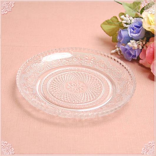 【リーズナブルプライス!】■カットガラスプレート14.7cm【アンティーク 薔薇雑貨 カット クリスタル】