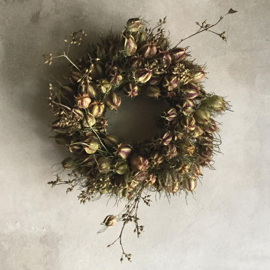 Dried Nigella & Eucalyptus Wreath (ニゲラとユーカリの実のドライリース)