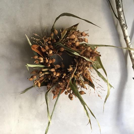 Dried Gettou & Magnolia Wreath (月桃とマグノリアのリース)