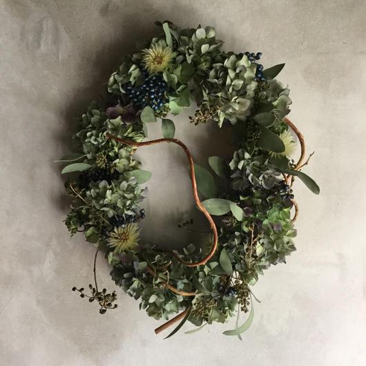 Autumn Hydrangea  Oval Wreath (秋色紫陽花のオーバルリース)