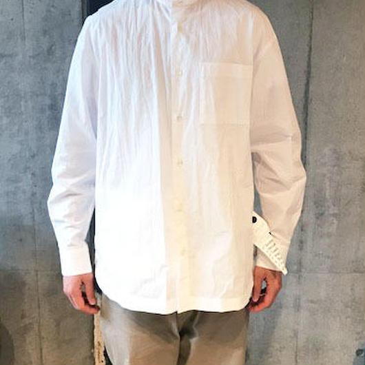 【BASUKIA】BAND COLLAR SHIRTS -WHITE-