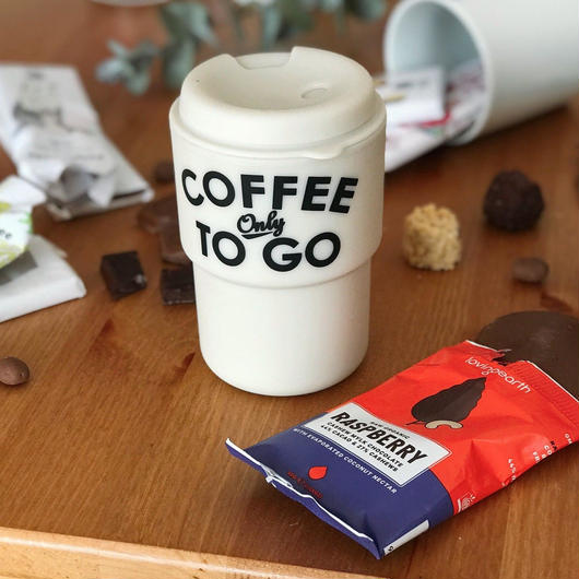 【Special kit】COFFEE ONLY TO GO タンブラー(WHITE) × LOVING EARTH チョコレート(ラズベリー・ミント・ダーク) 3枚セット