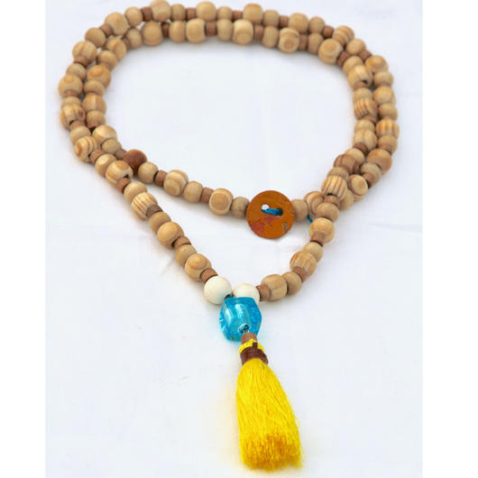 Yellow tassel+wooden beads necklace/タッセル+ウッドビーズネックレス