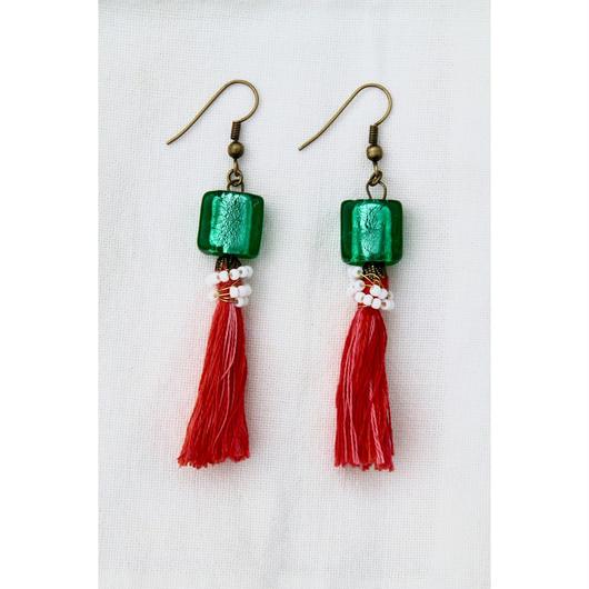 Tassel earrings with Venetian beads/タッセル+ベネチアンビーズのピアス