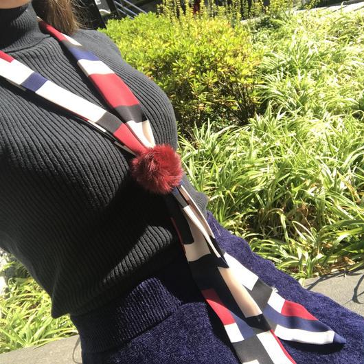 即納★ファーリング付タイトスカーフ スリーカラー