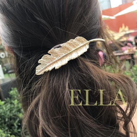 即納★ Feather hair barrette/GLD