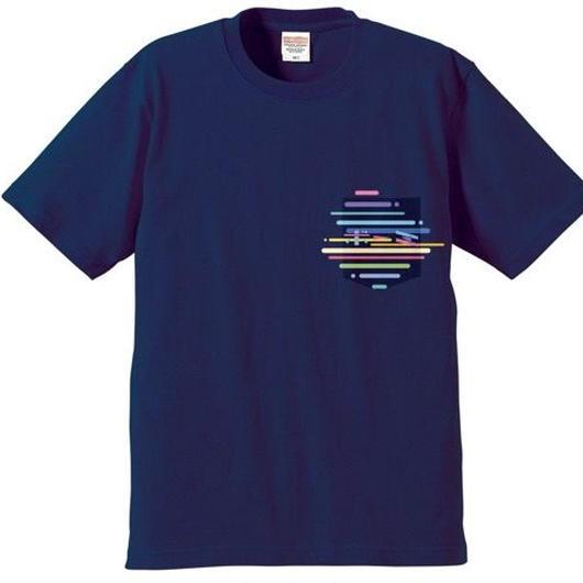 BOMI的ネオなサマーポケットTシャツ(ネイビー)