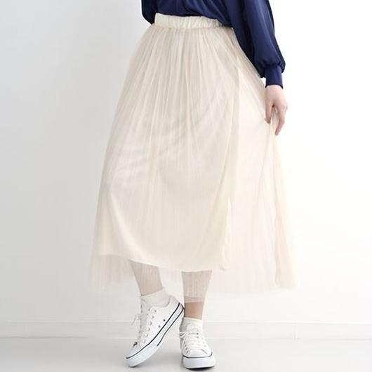 [1167sk]ソフトチュールプリーツスカート