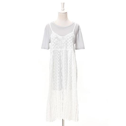 [0446op]花柄レースキャミワンピース×Tシャツset