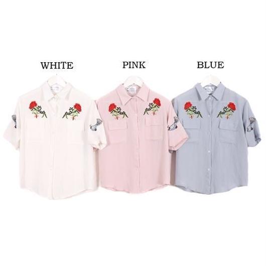 [0476tp]花刺繍胸ポケットシャツ