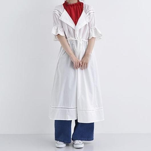 [1328op]カットワーク刺繍シャツワンピース