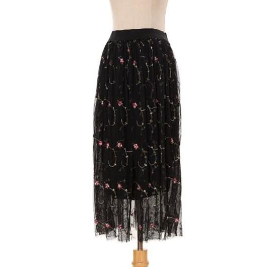 [0815sk]花刺繍チュールスカート
