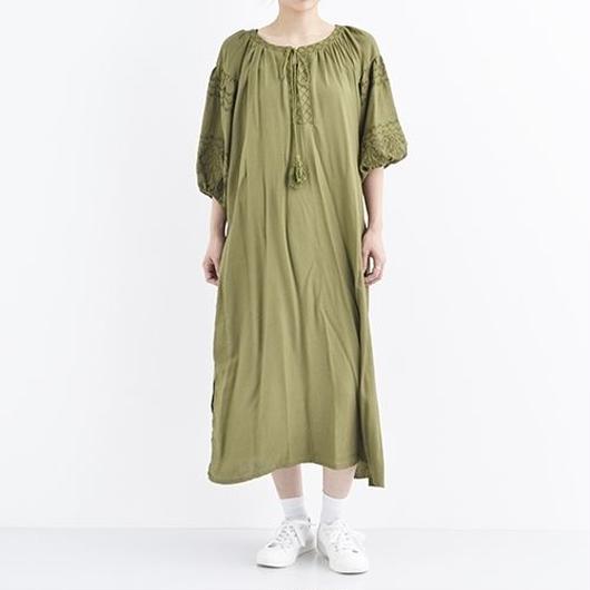 [1329op]エスニック刺繍入り平織ワンピース