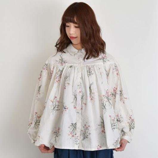 [1076tp]お花柄タックボリュームブラウス