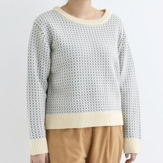 [1516tp]ピンチェック柄ドルマンニットセーター