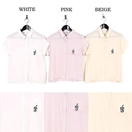 [0477tp]ドリンク刺繍シャツ