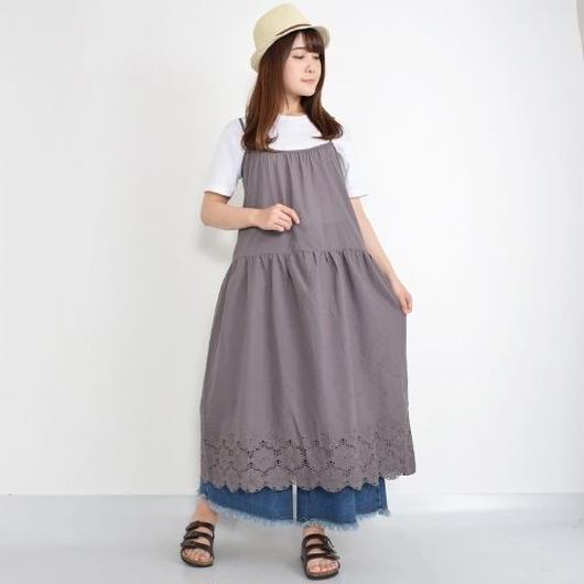 [1343op]同色花柄刺繍キャミワンピース