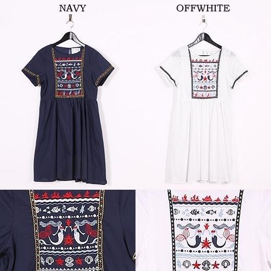 [0442op]マーメイド刺繍ワンピース
