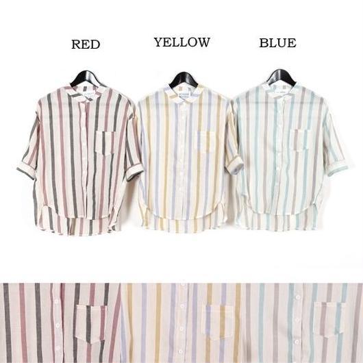 [0444tp]ストライプ柄スタンドカラーゆったりシャツ