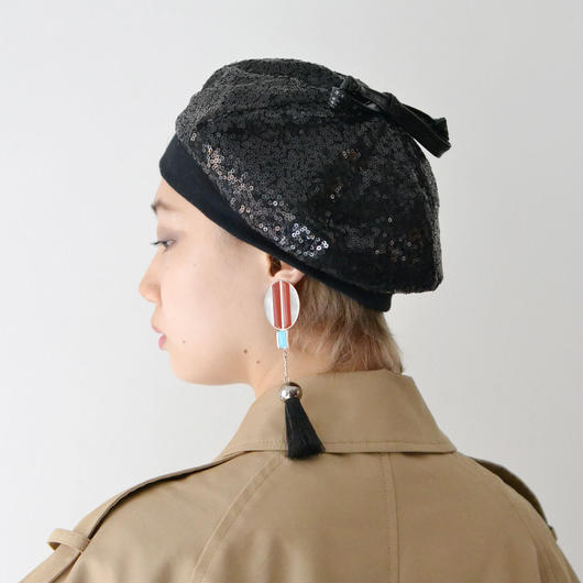 BERN STOCK SPEIRS / SEQUIN BERET /BLACK