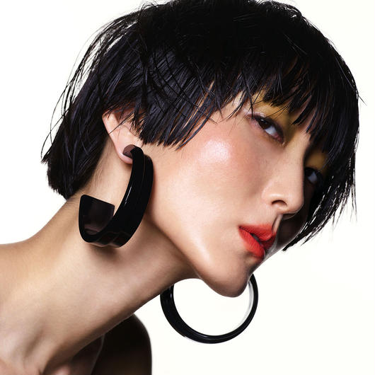 shiki / HOOP PIECES EARRINGS / BLACK