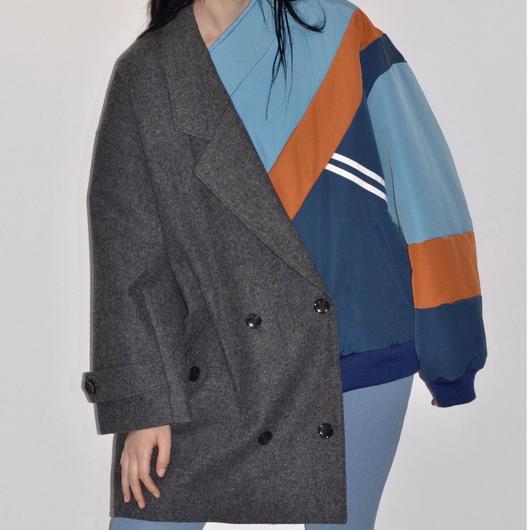 Metaphor... / Asymmetric Jacket Coat / GREY