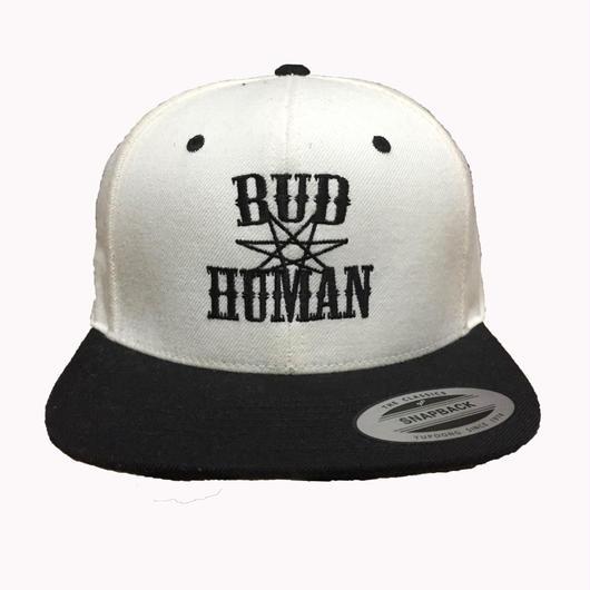 """SNAPBACK CAP """"BUD HUMAN"""" (WHT/BLK×BLK)"""