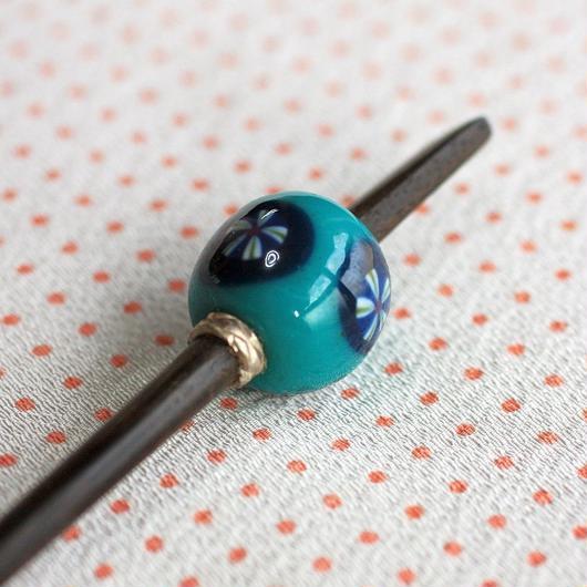 浅葱玉 丸紋 蜻蛉玉簪