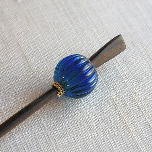 蜜柑玉 藍 蜻蛉玉簪(とんぼ玉かんざし)