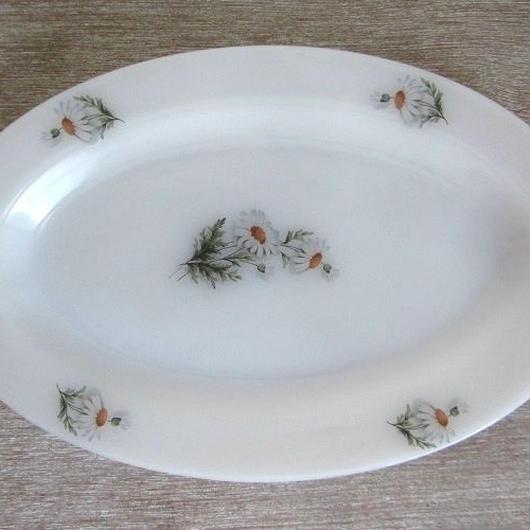 アルコパルマーガレット柄楕円形皿(大)