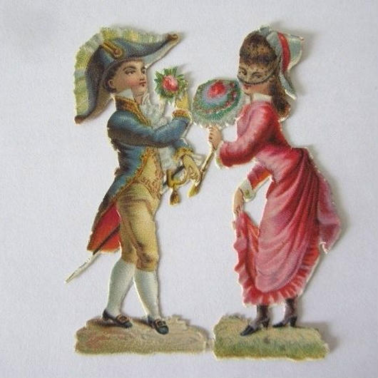 二角帽子の男性とピンクのドレスの女性のクロモス