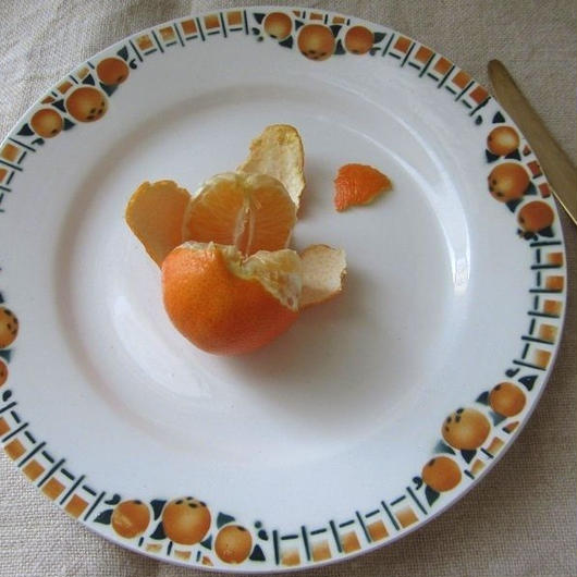 サンアマン窯オレンジ柄デザート皿G、H