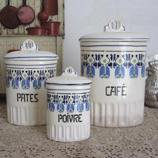 ブルーのモチーフ陶器キャニスター3つセット