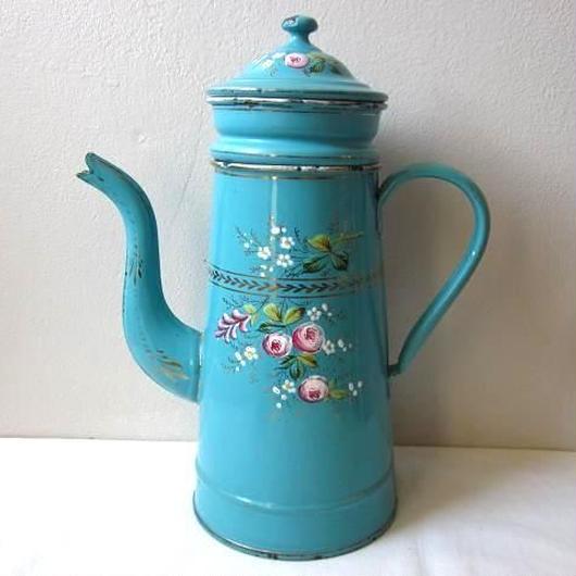 手描き薔薇モチーフのコーヒーポット