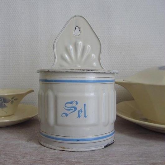 琺瑯ホワイト×水色のセル缶