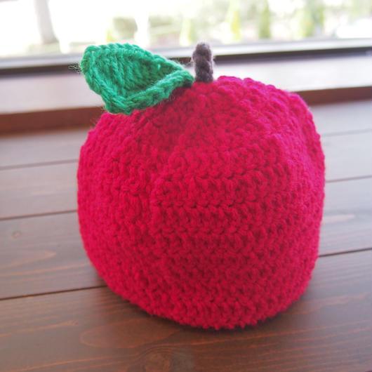 りんご帽子 洗えるニット帽 キッズサイズ